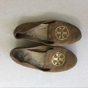Tory Burch leather suede loader slippers shoes 9